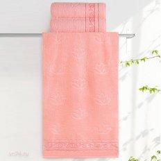 Полотенце махровое Aquarelle Лотос розово-персиковый