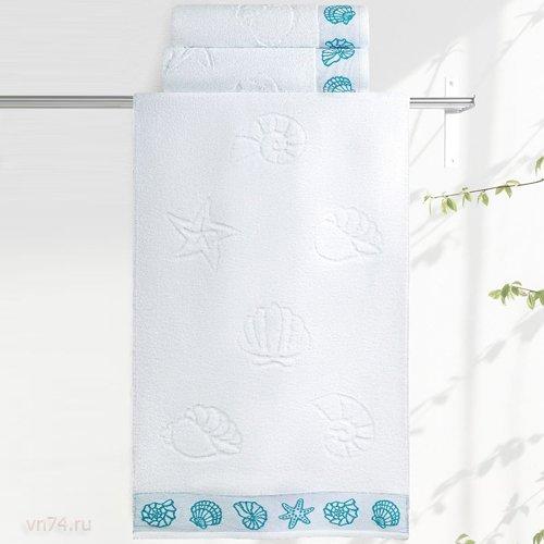 Полотенце махровое Aquarelle Ракушки белый