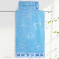 Полотенце махровое Aquarelle Ракушки cветло-васильковый
