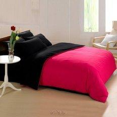 Постельное белье Nina Fashion фуксия-черный (микросатин)