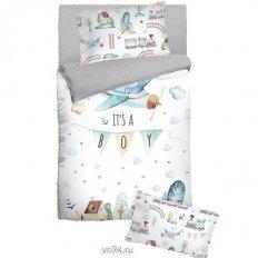 Детское постельное белье с резинкой на простыне Облачко IT SA BOY (бязь-люкс)