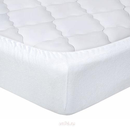 Простыня на резинке Арт-постель махровая белая (хлопок)