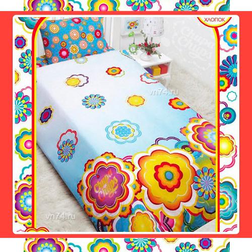 Детское постельное белье Mona Liza Chupa-Chups Цветы на бирюзе (бязь-люкс)