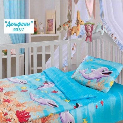 Детское постельное белье Облачко Дельфины (бязь-люкс)