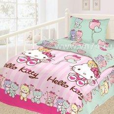 Детское постельное белье с резинкой на простыне Hello Kitty (бязь-люкс)