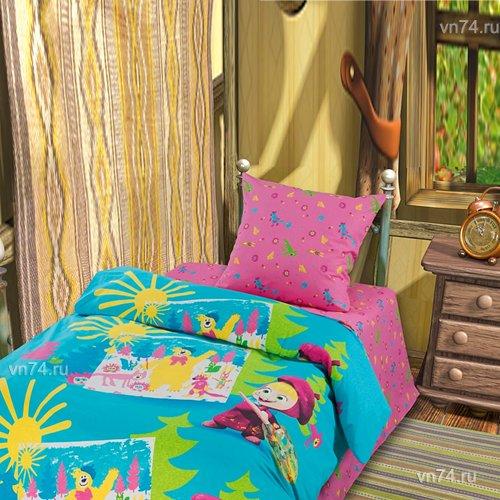 Детское постельное белье Маша и Медведь-Маша художница (бязь-люкс)
