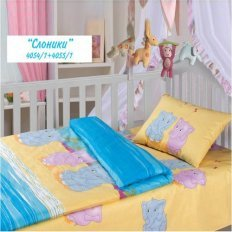 Детское постельное белье Облачко с резинкой на про.. Слоники (бязь-люкс)