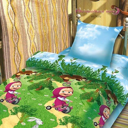 Детское постельное белье Маша и Медведь-Велогонка (бязь-люкс)